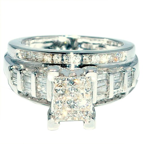 Princess Cut Diamond Wedding Ring 3 in 1 Engagement & bands white gold .9ct on sale