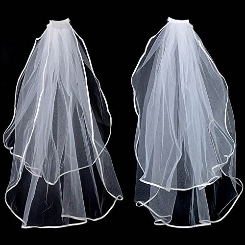 2T White Wedding Bridal Elbow Satin Veil with Comb Waist 2 Layers on sale