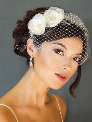 Leah: 2 WHITE Crystal Flower Fascinators & WHITE Crystal Bridal Birdcage Veil 27-F19a Leslie Li on sale