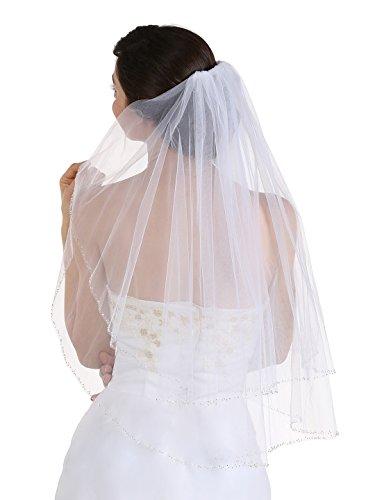 2T 2 Tier Silver Bugle Beaded Bridal Wedding Veil Elbow Length 30″
