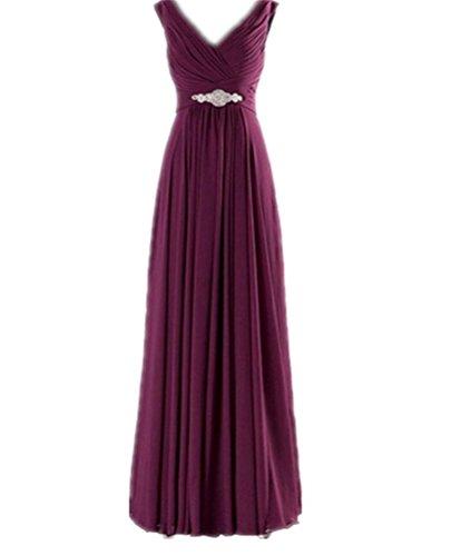 Buy WeiYin Women\'s Chiffon V-Neck Long Prom Dresses Bridesmaid ...