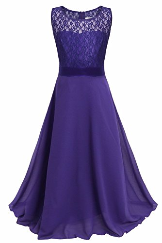 iEFiEL Big Girls Lace Chiffon Bridesmaid Dress Dance Ball Party Maxi Gown