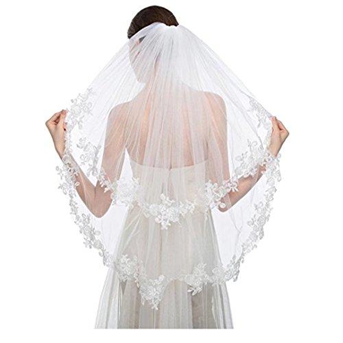 Angel Dress Shop 2 tier Elbow Length Lace Applique Wedding Veils with Comb