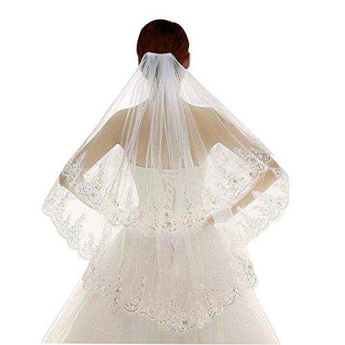 Kalos Dress Shop 2 Tier Lace Silver Lined Beaded Edge Bridal Wedding Veil