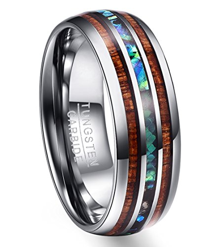 Vakki 8mm Hawaiian Koa Wood and Abalone Shell Tungsten Carbide Rings