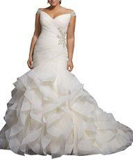 WuliDress Women's Plus Size Mermaid Wedding Dresses For Bride Cap Sleeve Beaded Bridal Gown