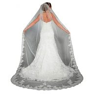 Lace Edge Cathedral Length Long Bridal Wedding veil with Comb (118 inches)