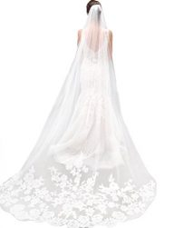 Jovono Womens One Tier Cathedral Wedding Bridal Veils with Combs Lace Decals