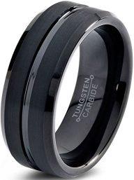 Tungsten Wedding Band Ring 8mm for Men Women Comfort Fit Black Beveled Edge Polished Brushed