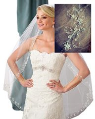 Gogh ONE TIER Fingertip Scrolled Scallop-Edge Crystals Wedding Veil Diamonds 118