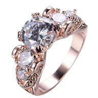 Junxin Top 10 KT Rose Gold Plated Ring,Women and Man Wedding Engagement Promise Rings,Three Stone rings to Show You Unlimited Beauty and Self confidence Size 10