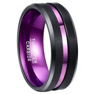 Nuncad Purple Tungsten Ring for Men 8mm Center Grooved Black Matte Finish Beveled Edge Size 7 to 12