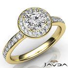 Pave Set Round Diamond Lustrous Engagement Ring GIA F VS1 18k Yellow Gold 1.17Ct