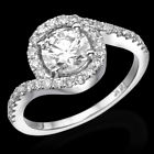 Real 1.00 Ct Diamond Engagement Ring Round Cut F/SI1 18K White Gold Enhanced
