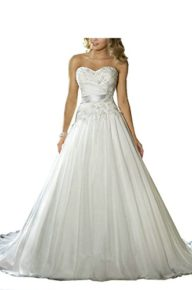 WANNISHA Women's A Line Court Train Lace Beaded Beach Wedding Dress