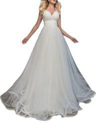 YSMei Women's V Neck Bridal Gowns Long Sleeveless Tulle Wedding Dresses YWD164