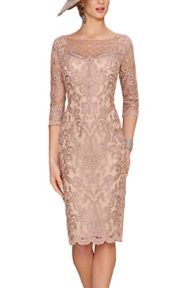 Newdeve Women's Mother Of The Bride Dresses With Lace Jacket Short For Wedding