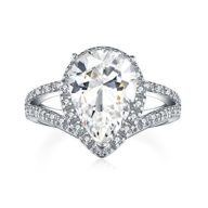 UMODE Pear Cut Engagement Ring Halo 925 Silver Solitaire Cubic Zirconia Teardrop Wedding Ring for Women