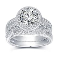VAN RORSI&MO Engagement Wedding Ring Set for Women 2.0ct Round 18K Gold Plated Sterling Silver Bridal Set