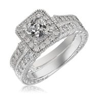 Sterling Silver Platinum-Plated Elegant Cut CZ Diamond Engagement Wedding Ring Set 2pcs(New).