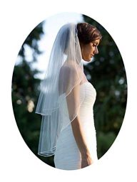 Barogirl 2 tier Wedding Veil Fingertip Length with Pencil Edge Soft Bridal Blusher Veil with Comb