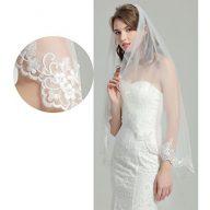 Wedding Bridal Veil with Comb 1 Tier Lace Applique Edge Fingertip Length 41″