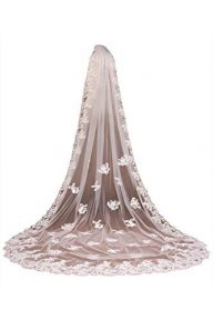 Babyonlinedress Applique Lace Edge Cathedral Wedding Bidal Veil+Comb