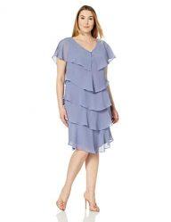 S.L. Fashions Women's Size Pebble Tier Dress Plus