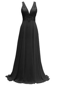 V-Neck Lace Bridesmaid Dresses Long Chiffon A-Line Beaded Wedding Party Gowns 2019
