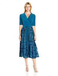 T-Length Dress with Rosette Skirt and Tie Belt