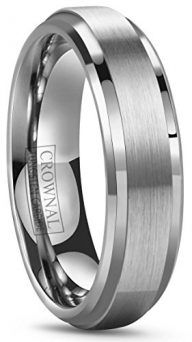 CROWNAL 6mm 8mm 10mm Tungsten Wedding Band Ring Men Women Polished Beveled Edge Matte Brushed Finish Center Silver/Rose Gold Tone Comfort Fit Size 5 to 17