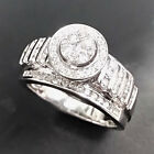 14k White Gold Over 1.35 Ct Round Cut Diamond Cluster Engagement Ring For Ladies