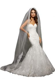 Passat crystal cathedral wedding veil ivory Edged with Rose Gold French Lace Rhinestones VL1057