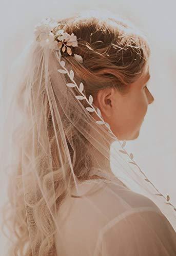 Barogirl Wedding Veil White Elbow Length Veil Comb Leaf Ribbon Trim Bridal Veil Fingertip