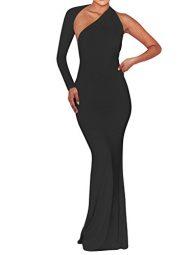BEAGIMEG Women's Sexy Elegant One Shoulder Backless Evening Long Dress