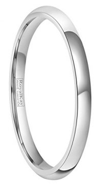 RoyalKay 1.5mm 2mm 4mm 6mm White Tungsten Wedding Band Ring Men Women Plain Dome High Polished Comfort Fit Size 3 to 17