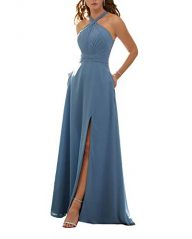 Stylefun Women's Halter Bridesmaid Dresses Slit 2019 Formal Prom Evening Party Gowns with Side Pockets KN010