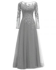 Women's Lace Appliques Mother of The Bride Dress Tulle Long Sleeves Evening Prom Gown Beaded