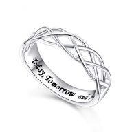 Flyow Wedding Ring Sterling Silver Engraved Today Tomorrow and Always Celtic Lover Engagement Ring, Size 6-8