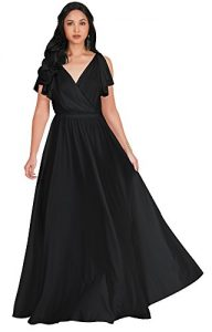 KOH KOH Womens Long V-Neck Ruffle Sleeveless Bridesmaid Prom Gown Maxi Dress