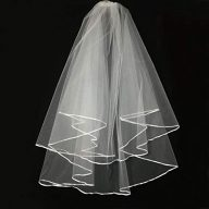 Wedding Veil White,2 Tier Ribbon Edge Center Cascade Bridal Wedding Veil with Comb By Korty