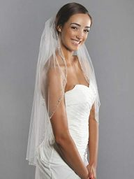 Barogirl Wedding Veil White with Rhinestones 1 Tier Beaded Edge Bridal Veil Fingertip Length with Comb for Brides