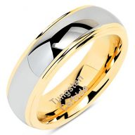 100S JEWELRY 6mm Tungsten Rings for Men Women Wedding Band Two Tones Gold Silver Engagement Size 5-13