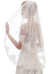 EllieHouse Women's Short 2 Tier Mantilla Lace Wedding Bridal Veil With Metal Comb L65