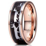 THREE KEYS JEWELRY 8mm Deer Family Antler Black Sandalwood Ebony Tungsten Wedding Ring Hunting Ring Band
