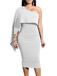 GOBLES Women's Summer Sexy One Shoulder Ruffle Bodycon Midi Cocktail Dress