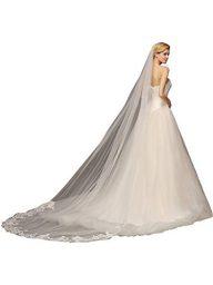 MisShow Wedding Bridal Veil Lace Edge Cathedral Length Wedding Veil+Comb