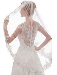 EllieHouse Women's Short 1 Tier Lace Wedding Bridal Veil With Metal Comb L68