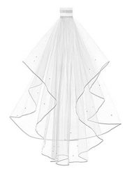 Women's 2 Tier Short Bridal Pearl Veil Wedding Porm Party Veil With Comb
