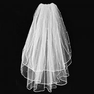 Wedding Bridal Veil,White Wedding Veil with Comb, 3 Tier Ribbon Edge with Pearl Center Cascade for Bachelorette Party